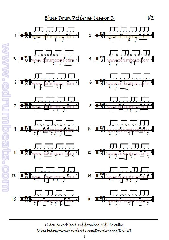 Blues drum patterns lesson 3, page one. Play as written or with hi-hat shuffle.