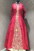 Astonishing Red Silk Readymade Partywear Indo Western Suit