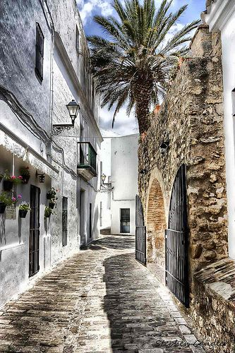 One of the many narrow streets in Vejer de la Frontera, Spain
