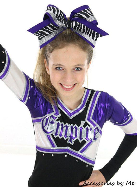 Purple Big Cheer Bow Zebra Black White Silver by accessoriesbyme