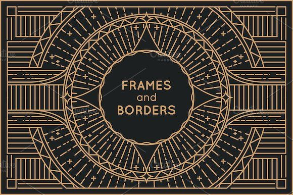 5 Linear frames and borders by venimo on @creativemarket