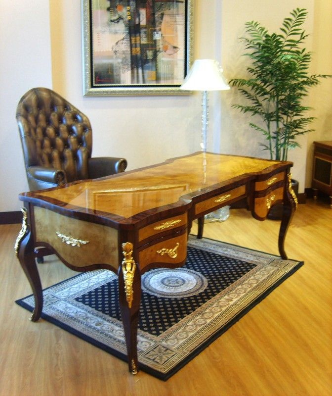 French Style Partners Desk with exotic veneers
