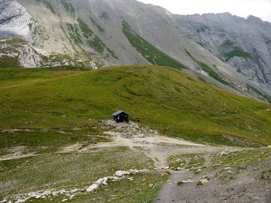 Looking down at the Col du Bonhomme - Day 2 on the Topur du Mont Blanc