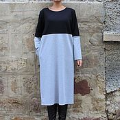 Одежда ручной работы. Ярмарка Мастеров - ручная работа Черно-серое элегантное коктейльное макси миди платье с длинным рукавом. Handmade.