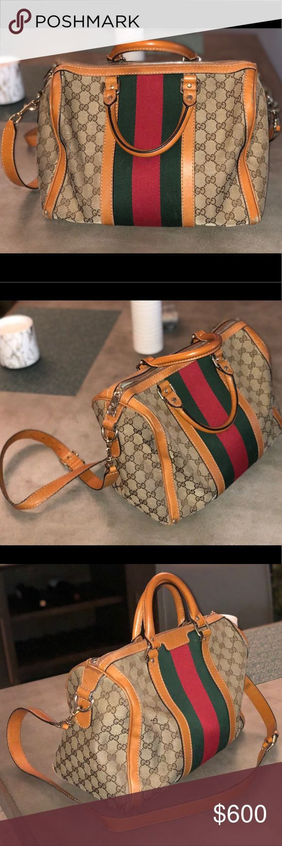 """Original GUCCI medium Boston bag Authentic GUCCI vintage web top handle Boston bag in tan leather, red, green, and web canvas and gold details Worn with love, with scuffing on the leather on all four bottom corners and some slight pen markings on inside canvas, but all are out of sight The shoulder strap is adjustable and detachable, and the double top handle is a 4"""" drop 13"""" L x 9"""" H x 7"""" W Gucci Bags Shoulder Bags"""