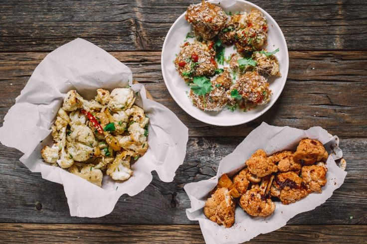 Learn how to make crunchy Thai, maple chipotle BBQ and honey garlic #cauliflower wings.