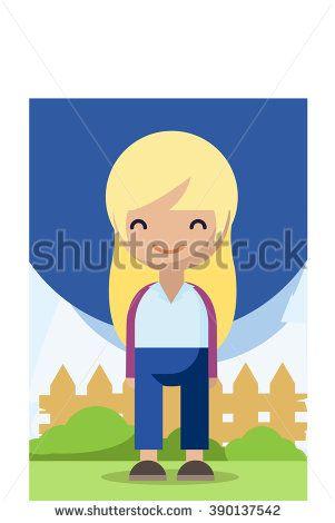 Cute style Blonde Female Girl Cartoon - stock vector