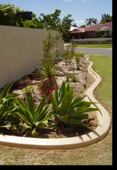 Limestone unique kerbing glazed concrete garden edging for Garden design ideas perth wa