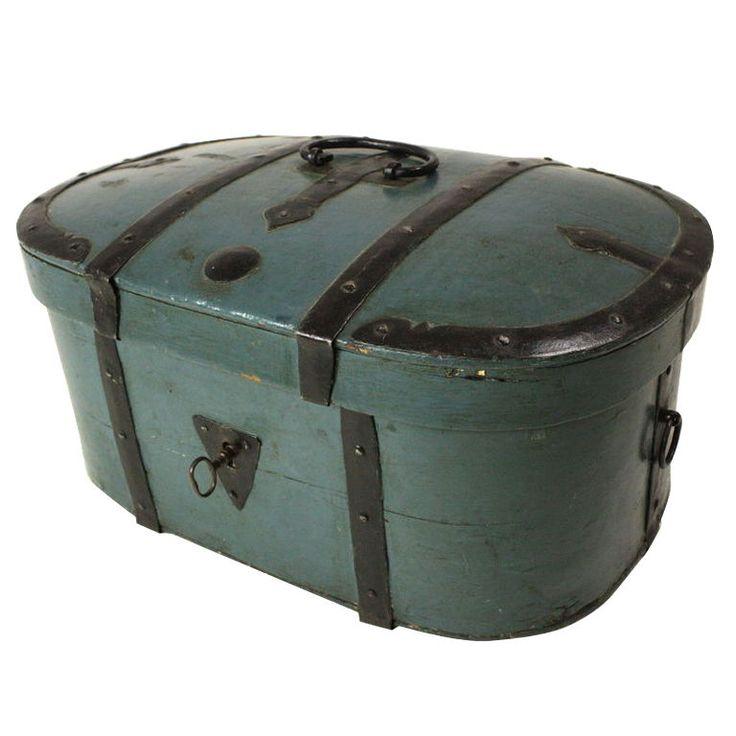 Early 19th C. Swedish Box/Dome Trunk, Original Metal Work