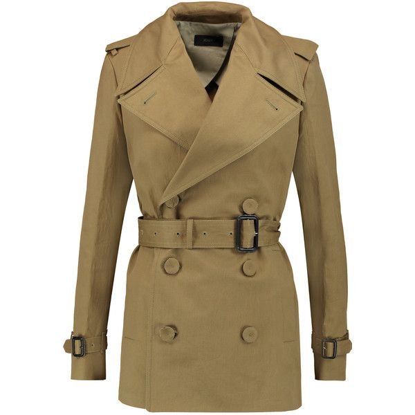 Joseph Townie belted cotton-twill trench coat (3.005 NOK) ❤ liked on Polyvore featuring outerwear, coats, army green, joseph's coat, army green coat, olive coat, olive green coat and brown trench coat