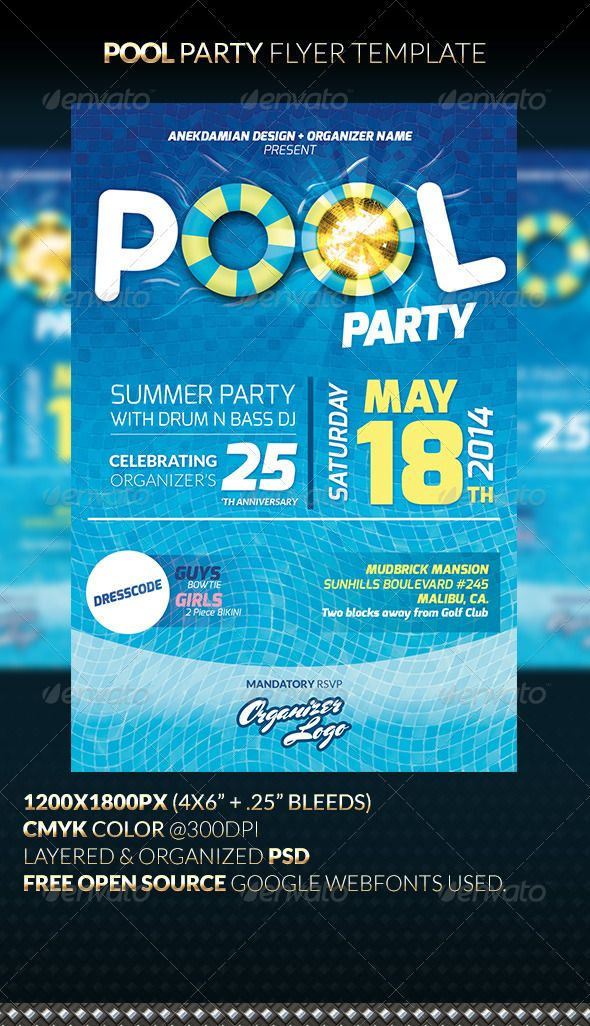 12 best ideas about event flyer templates on pinterest for Club piscine flyer