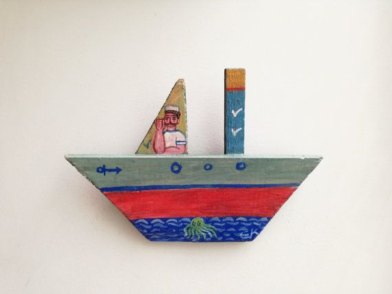 Sailor on wooden boat folk art shabby boat by ArktosCollectibles
