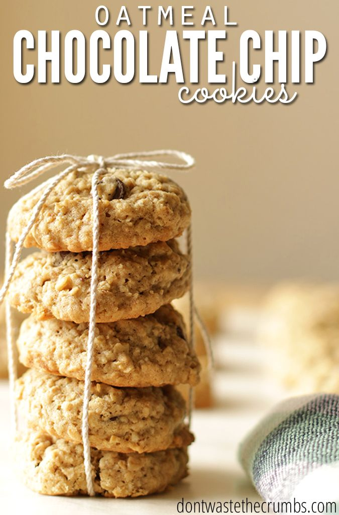 The best oatmeal chocolate chip cookies! This simple and easy recipe is our family's favorite, and the kids choose it every time. They're soft, loaded with chocolate and a nice change of pace from a plain chocolate chip cookie - absolutely delicious! :: DontwastetheCrumbs.com