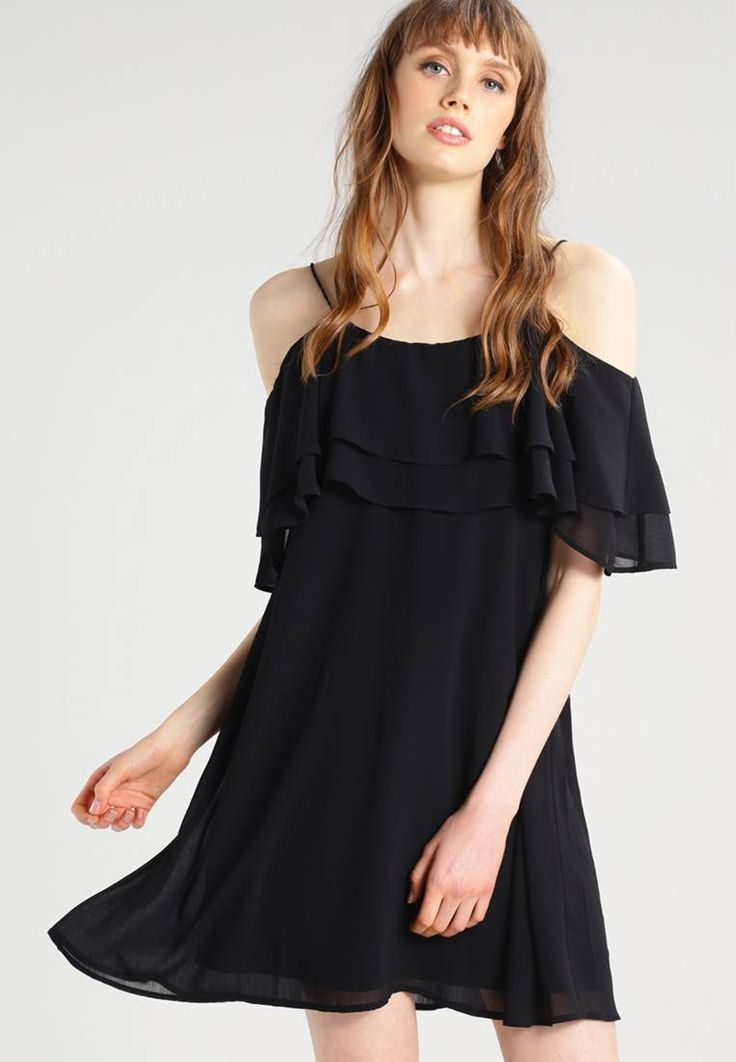 """Vero Moda. VMFLORA - Summer dress - black. Fit:large. Outer fabric material:100% polyester. Our model's height:Our model is 69.5 """" tall and is wearing size 10. Pattern:plain. Care instructions:do not tumble dry,machine wash at 30°C,A shrink..."""