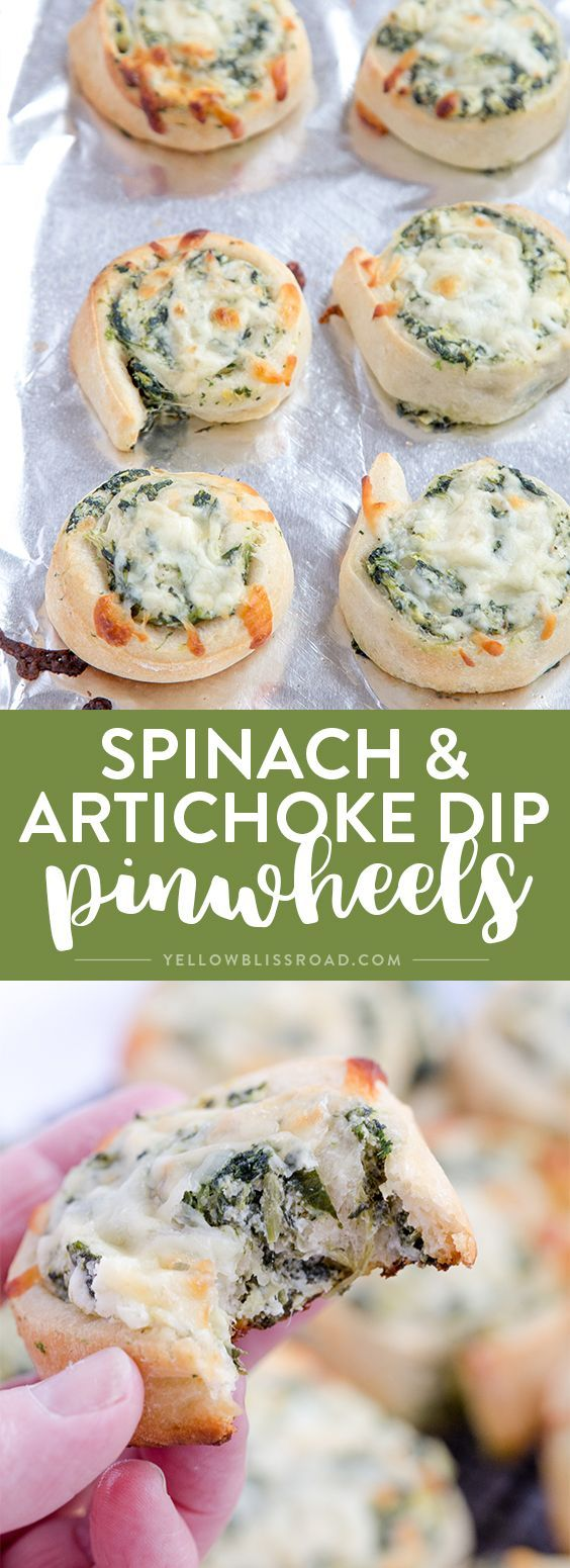 Creamy delicious Spinach Artichoke Dip Pinwheels are an easy finger food that makes the perfect appetizer for any party.