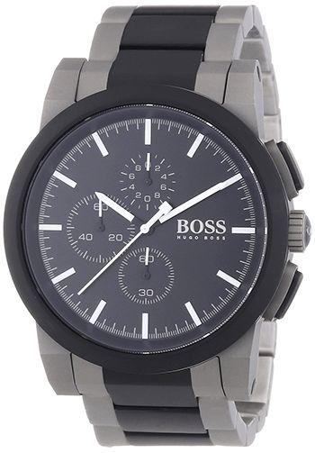 Montre Hugo Boss Grise et Noir pour Homme - 1512958 - Quartz Chronographe - Bracelet et Cadran Acier inoxydable Gris et Noir