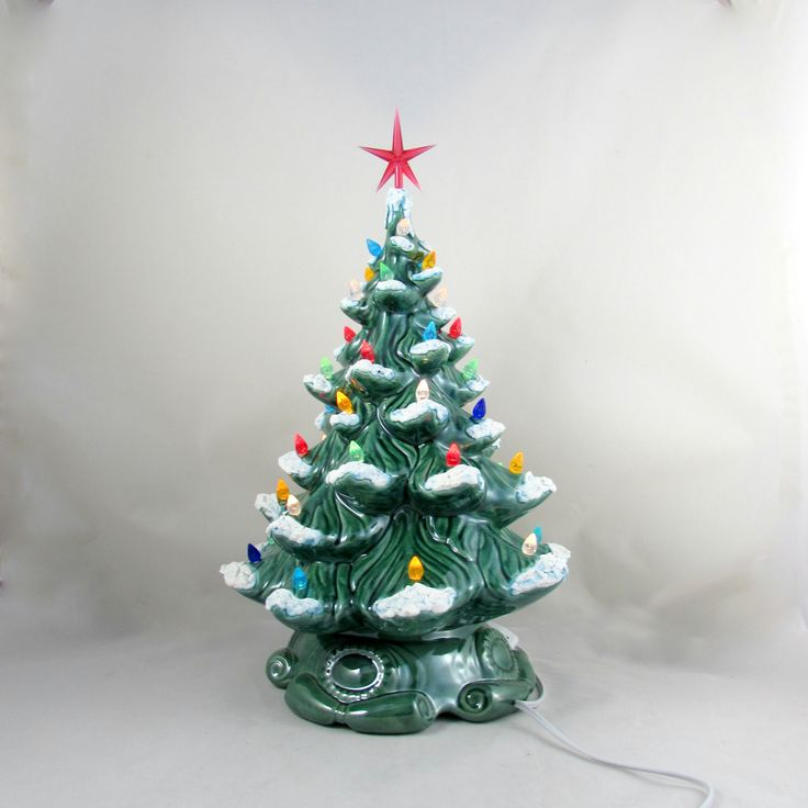 READY to SHIP Large Vintage Style Glazed Ceramic Christmas Tree with kiln fired snow-16 inches with base, hand made, painted, pine tree by aarceramics on Etsy