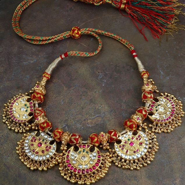 Vintage kundan necklace- Revival of an antique pendant to render this a complete necklace in 'kundan' style, is part of Gehna's private coll...