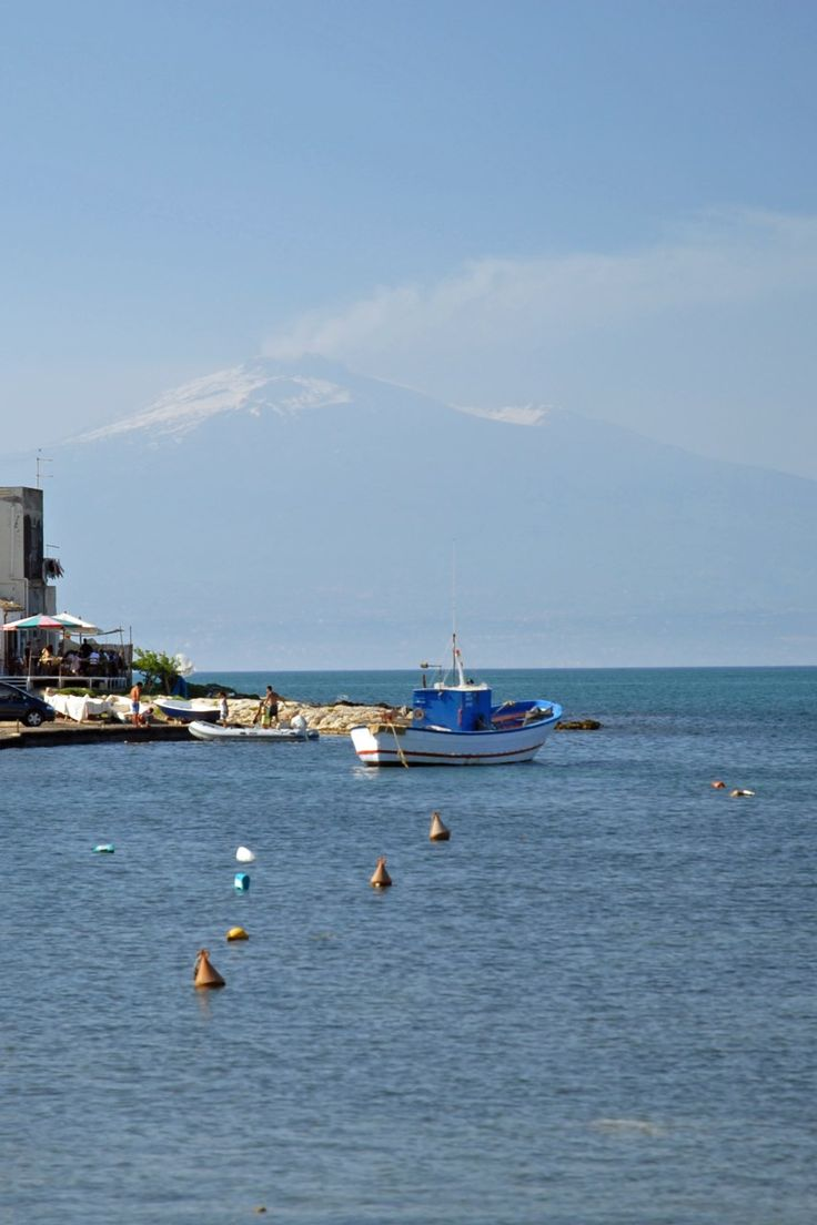 Mount Etna seen from the beach at Brucoli, just north of Syracuse.