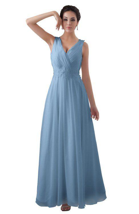 4f4ff2db4c67 ColsBM Kalani Dusty Blue Modern A-line V-neck Zipper Floor Length Plus Size Bridesmaid  Dresses
