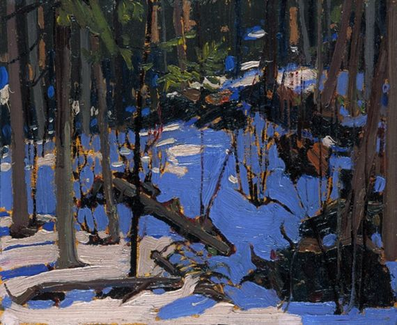 Tom Thomson | Winter in the Woods (1916) | oil on wood, 21.4 cm x 26.5 cm | National Gallery of Canada