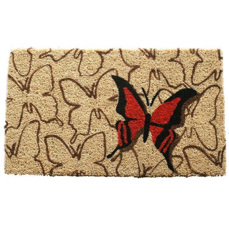 entryways orange butterfly hand woven coir doormat