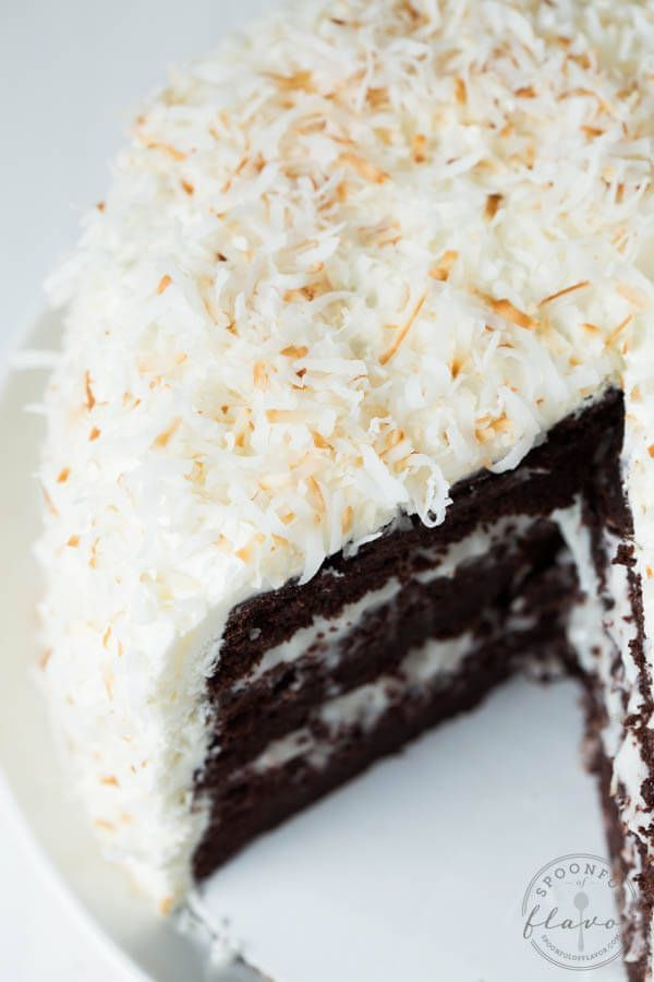Chocolate cake with coconut cream and marshmallow buttercream frosting is the perfect cake recipe for birthdays, holidays, parties and more!