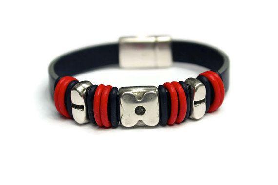 Unisex Leather Bracelet Blue Leather Blue by PepperPotLeatherShop, $42.99