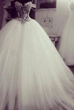 2015 Neu Luxus Weiß Kristall Brautkleid Abendkleid Tüll Hochzeitskleid Ballkleid