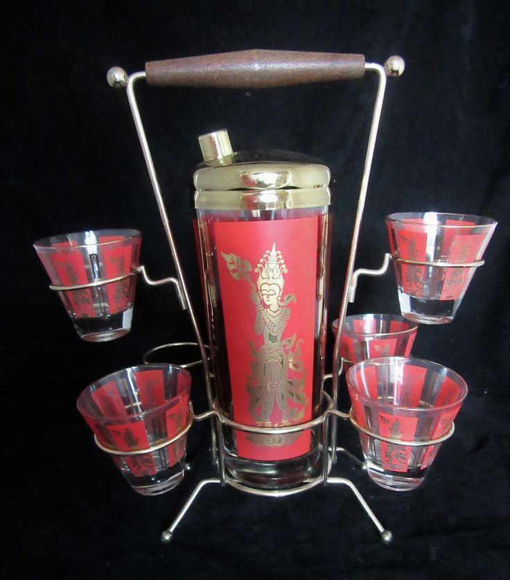 Mid Century Red & Gold Asian Paneled Cocktail Shaker, Stand W/ 5 Glasses