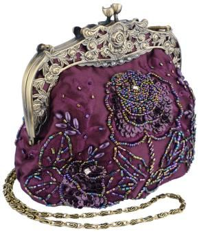 Antique Beaded Rose Evening Handbag, Clasp Purse Clutch w/Removable Chain