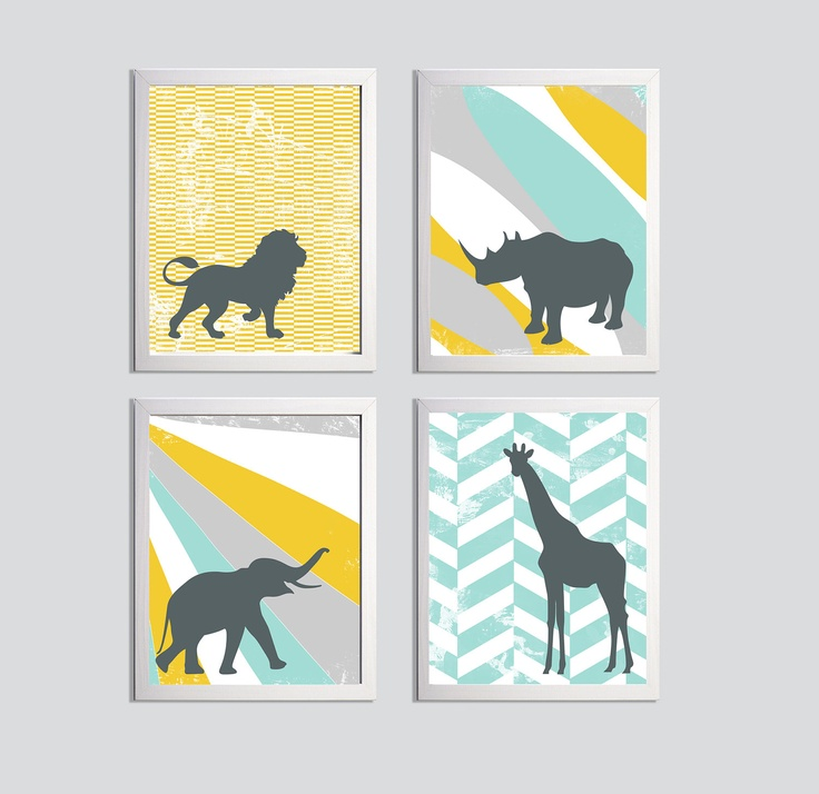 Nursery Art Zoo Jungle Safari Elephant Lion Giraffe by ZeppiPrints