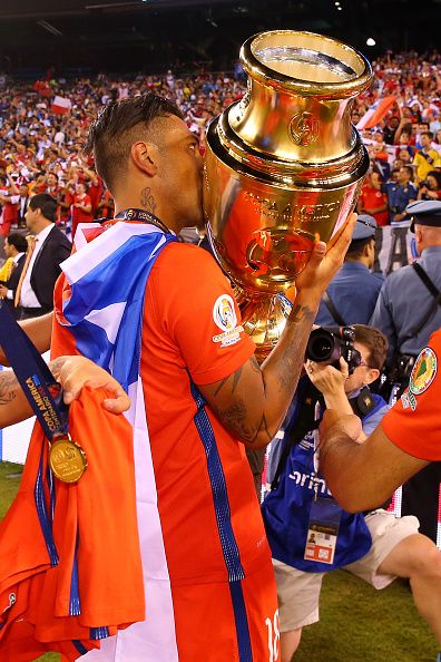#COPA2016 #COPA100 Gonzalo Jara of Chile celebrates after defeating the Argentina to win the Copa America Centenario Championship match at MetLife Stadium on June 26...