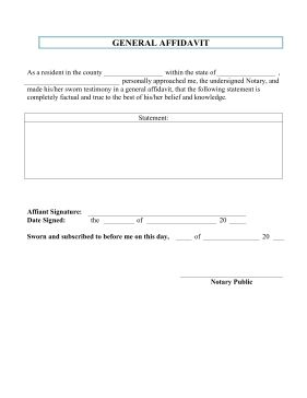The general affidavit is a written declaration for an affiant to be used as a formal sworn statement and signed before a public notary and used in depositions. Free to download and print