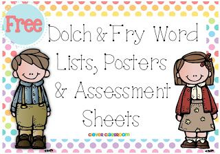 FREE PDF Dolch and Fry Word Lists, posters assessments and labels - Clever Classroom blog