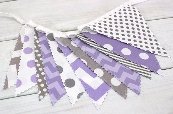 Bunting Banner, Photo Prop, Fabric Flags, Birthday Decoration, Girl Nursery Decor - Lavender, Purple, Plum and Gray Chevron - Ready to Ship
