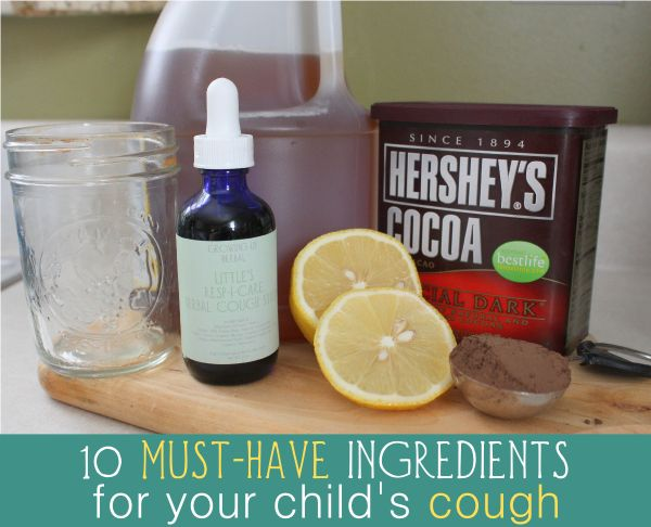 10 natural ingredients to help children's coughs. From common kitchen foods, herbs, and more.  One to add:  pickle juice.  Vinegar with salt.  And the kids love it.