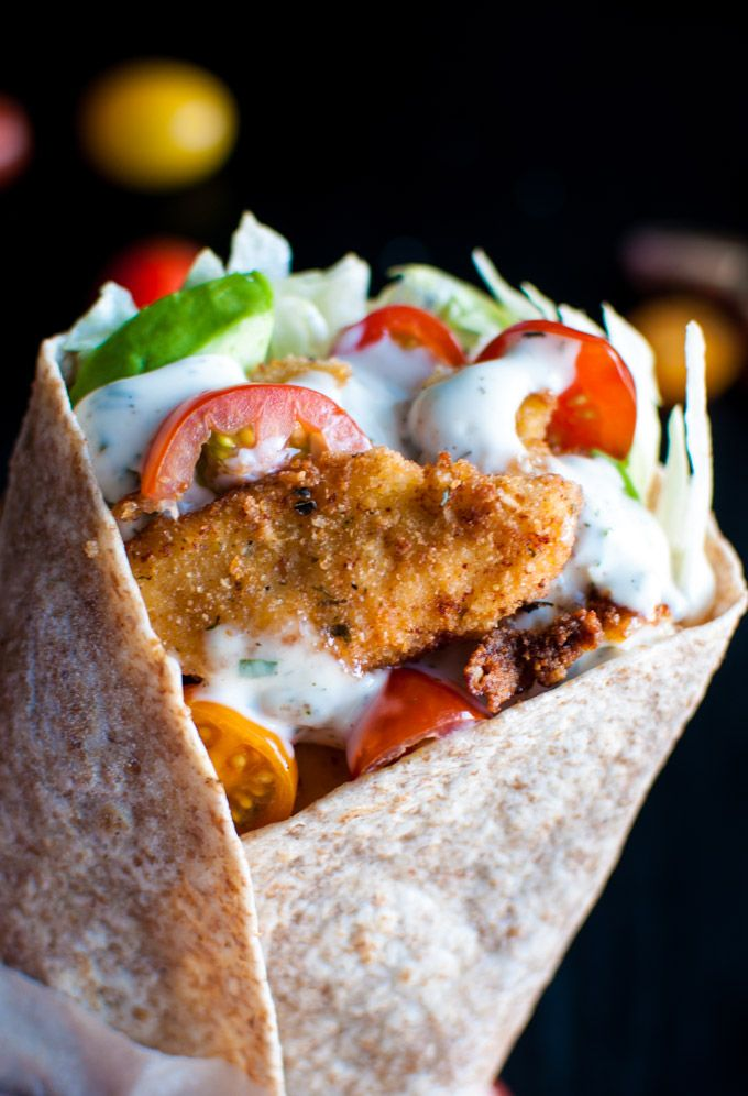 Fried Chicken Wraps with Homemade Ranch Dressing - these wraps taste amazing and are easy to make! The ranch is to die for and everything is ready in just over half an hour! - Salt & Lavender