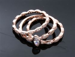 925 Sterling Silver stacking ring rose gold plated with CZ stones