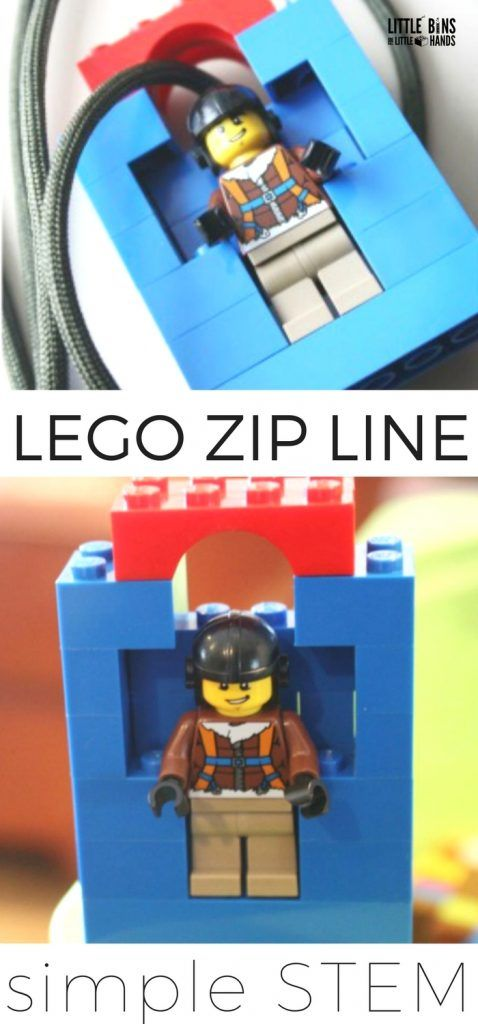 LEGO Zip line for kids STEM. Make a homemade LEGO zip line to explore physics with young kids! Use a simple zip line STEM project to learn about force, motion, gravity, tension, and friction while playing and talking with your kids! Great for preschool, kindergarten, and early elementary age kids.