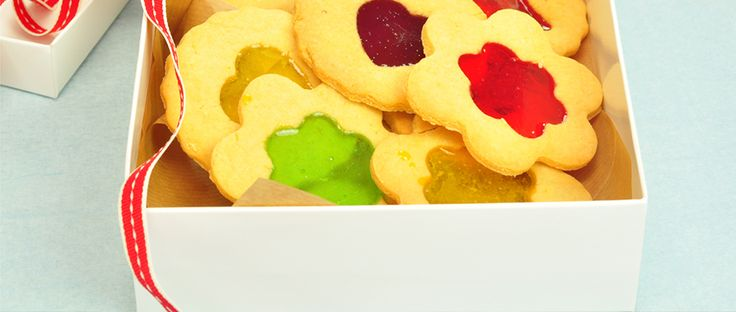 Colourful cookies, made to look like stained glass windows.