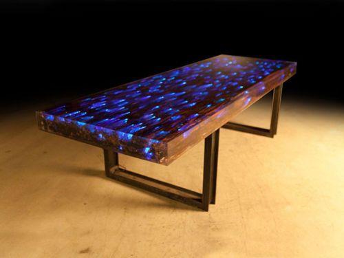 10 Ft L Dining Table Desk Driftwood Resin Embedded LED Light