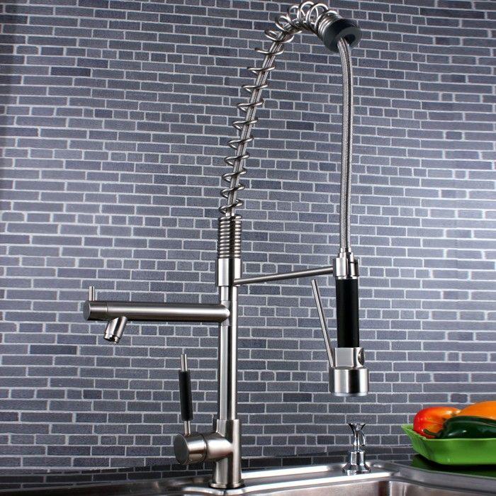 Trins Pullout Spray Kitchen Sink Tap Brushed Nickel - Kitchen Taps - Taps