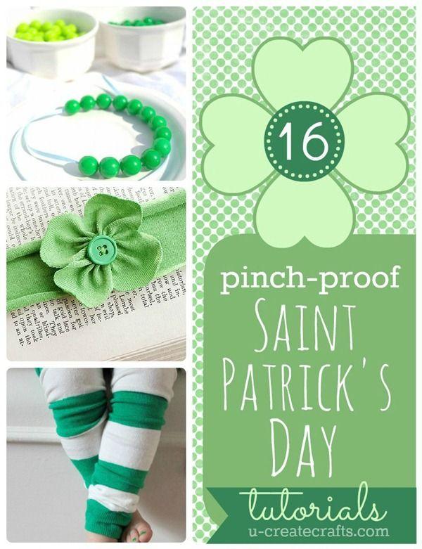 "16 ""pinch proof"" tutorials for St. Patrick's Day! u-createcrafts.com"