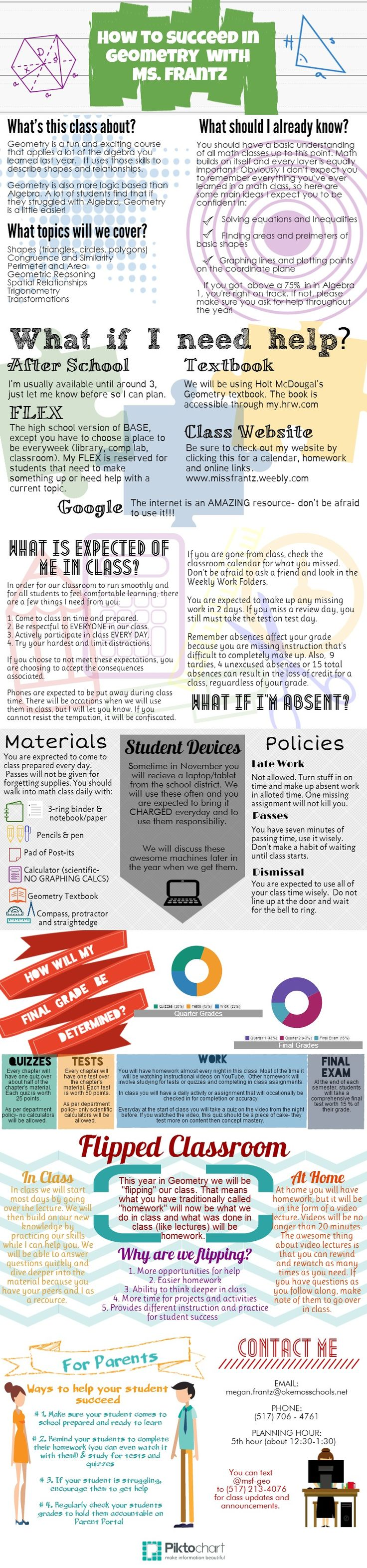 Ms. Frantz's Geometry Syllabus | @Piktochart Infographic