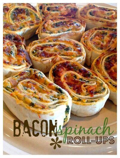 Bacon-spinazie rolletjes, ziet er heerlijk uit! Lekker hapje voor op mijn verjaardag...  http://patinawhite.typepad.com/.a/6a0112796e7f7c28a401a5116091bb970c-pi