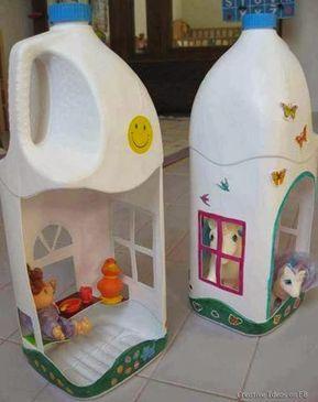 Pet Şişelerden Oyuncak Ev Yapımı-Elişi Çalışmaları