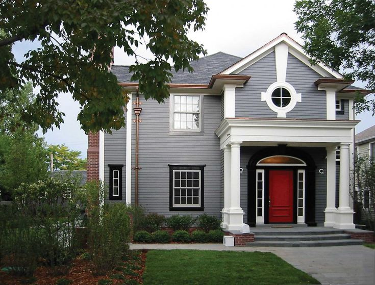 Colorado Home Of Ramey Caulkin #red #door | Designer Interiors | Pinterest  | Doors, Black Shutters And Grey Houses