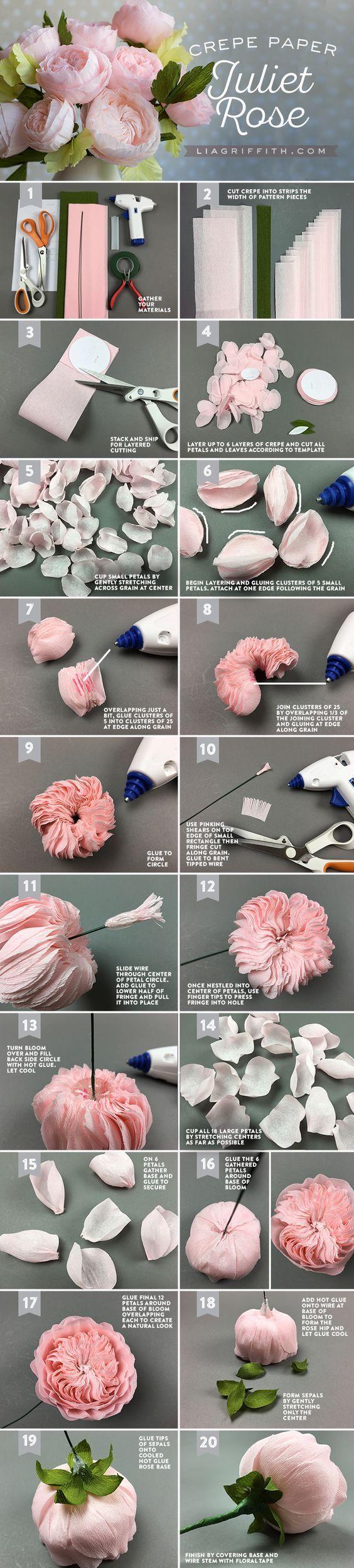 Crepe Paper Juliet Roses: