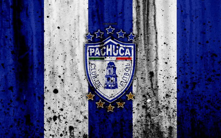 Download wallpapers 4k, FC Pachuca, grunge, Liga MX, soccer, art, Primera Division, football club, Mexico, Pachuca, stone texture, Pachuca FC